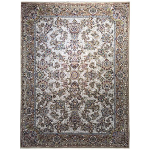 فرش ماشینی عظیم زاده طرح افشان دانژه گل برجسته کد 9028