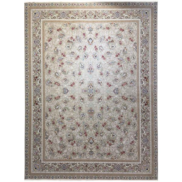 فرش ماشینی عظیم زاده طرح افشان گل سرخ گل برجسته کد 9029