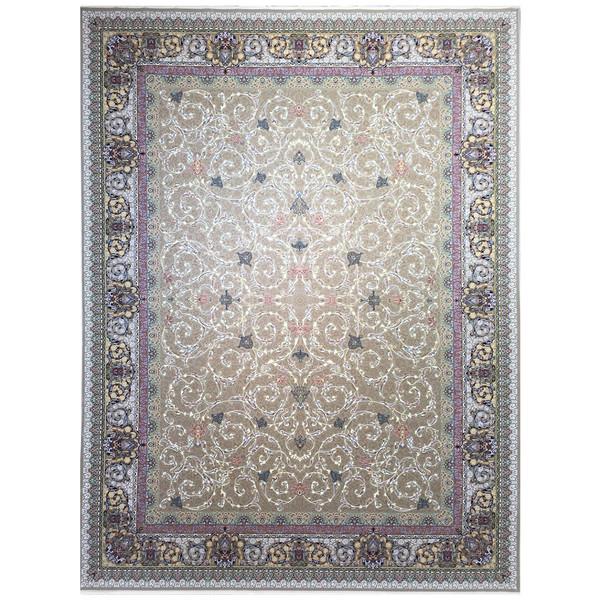 فرش ماشینی عظیم زاده طرح افشان اسلیمی گل برجسته کد 9030