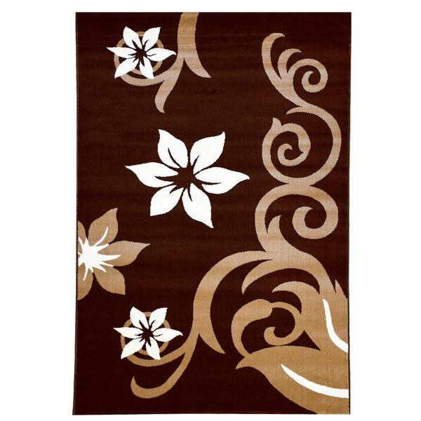 فرش ماشینی سهند کد C001.XO طرح فانتزی زمینه قهوه ای