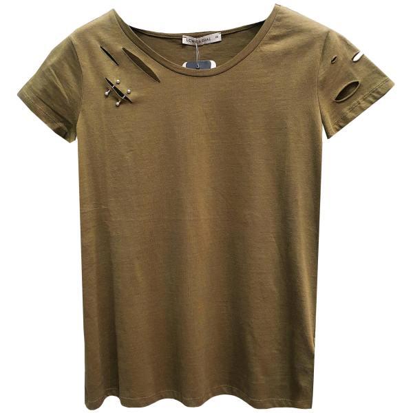 تی شرت آستین کوتاه زنانه ال سی وایکیکی مدل پیرسینگ دار کد 01