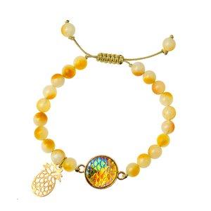 دستبند طلا 18 عیار دخترانه کرابو طرح آناناس مدل Krd1021