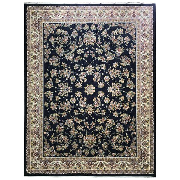 فرش ماشینی عظیم زاده طرح افشان زنبق کد 9065 زمینه سورمه ای