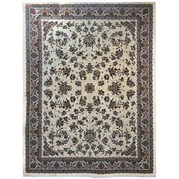 فرش ماشینی عظیم زاده طرح افشان زنبق کد 9066 زمینه کرم