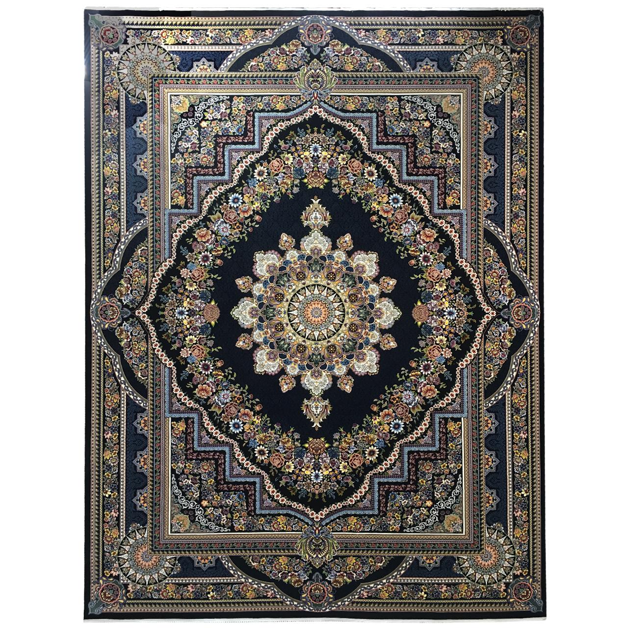 فرش ماشینی عظیم زاده طرح بهشت کد 9064 زمینه سورمه ای