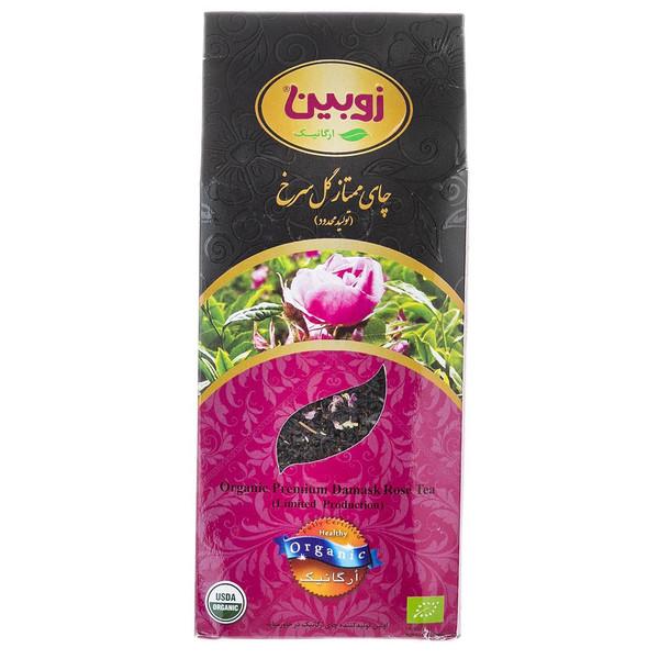 چای سیاه مخلوط با گل سرخ ارگانیک زوبین مقدار 180 گرم