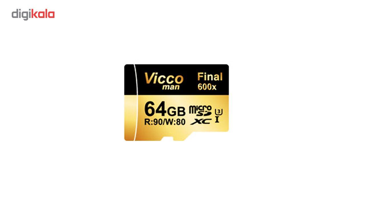 کارت حافظه microSDXC ویکو من مدل Final 600X کلاس 10 استاندارد UHS-I U3 سرعت 90MBps ظرفیت 64گیگابایت همراه با آداپتور SD main 1 1
