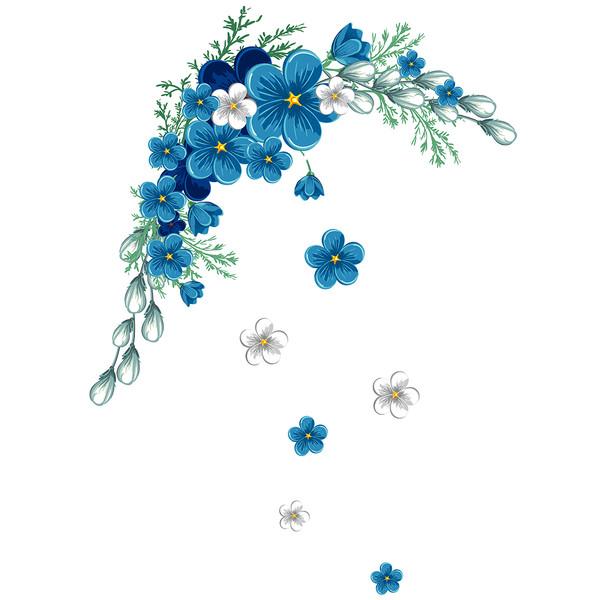 استیکر دیواری سالسو طرح blue flower a.z