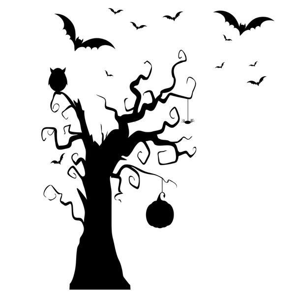 استیکر دیواری سالسو طرح scary tree a.z