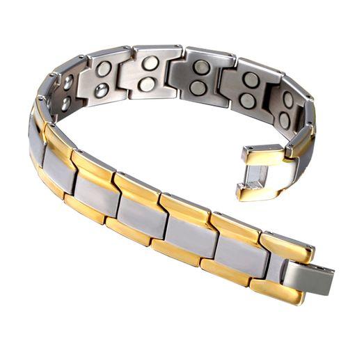 دستبند سلامت اسپرت گالری مگنت کد 371 نقره ای طلا یی