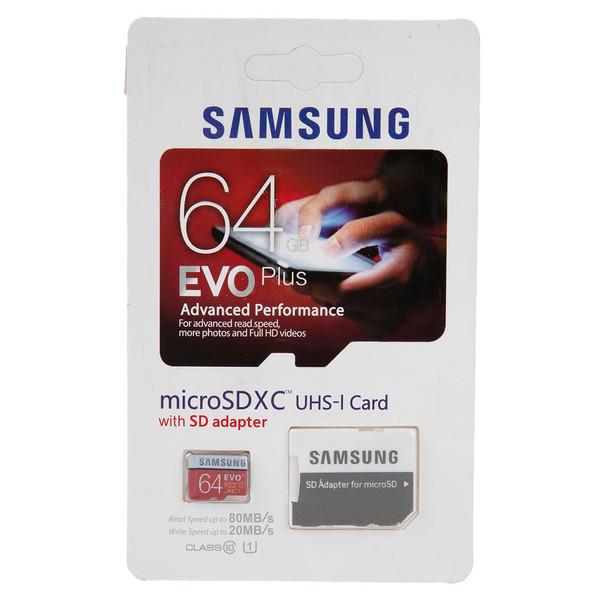 کارت حافظه microSDXC سامسونگ مدل Evo Plus کلاس 10 استاندارد UHS-I U1 سرعت 80MBps همراه با آداپتور ظرفیت 64 گیگابایت