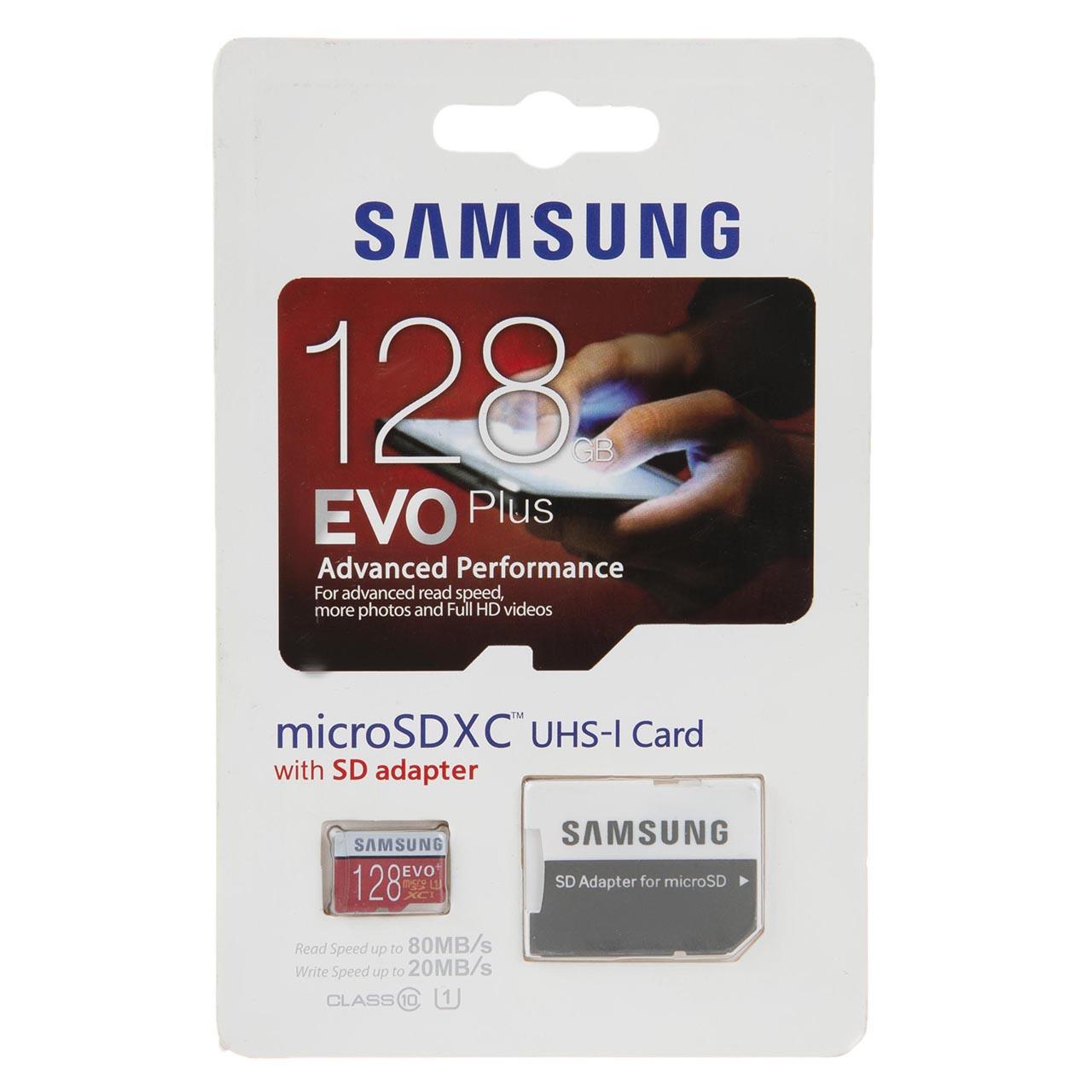 کارت حافظه microSDXC سامسونگ مدل Evo Plus کلاس 10 استاندارد UHS-I U1 سرعت 80MBps همراه با آداپتور ظرفیت 128 گیگابایت