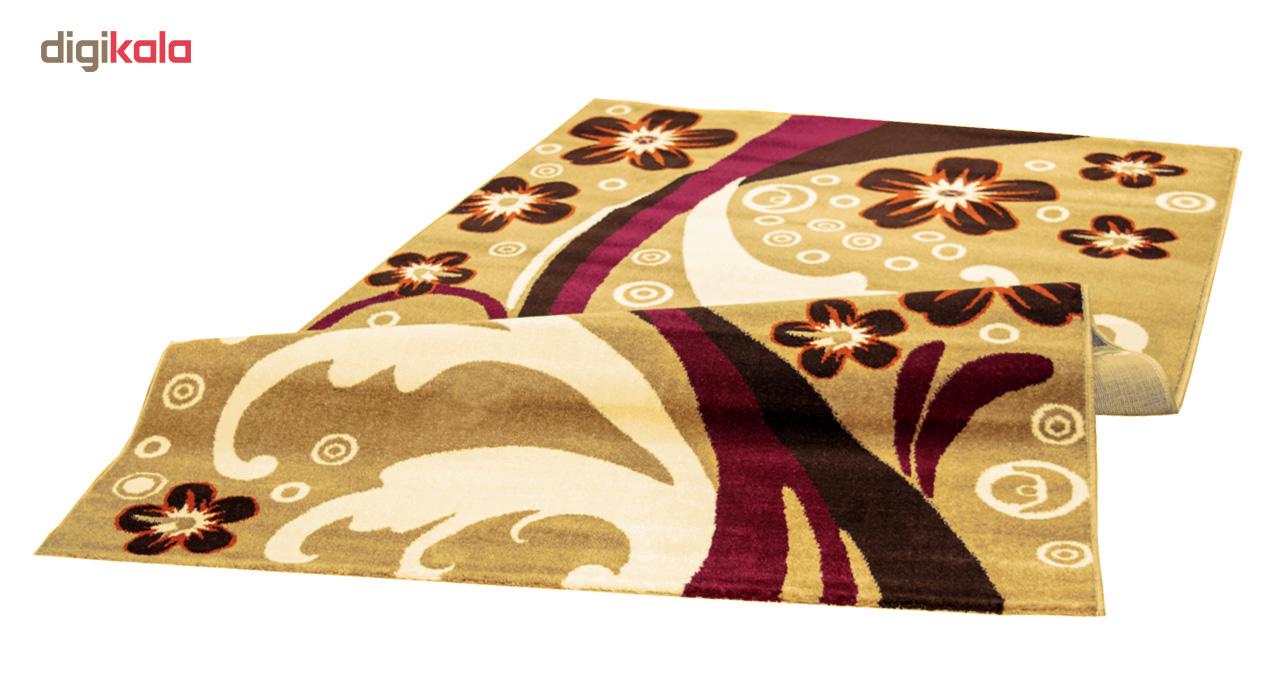 فرش ماشینی سهند کد PI05.27 طرح فانتزی زمینه گردویی