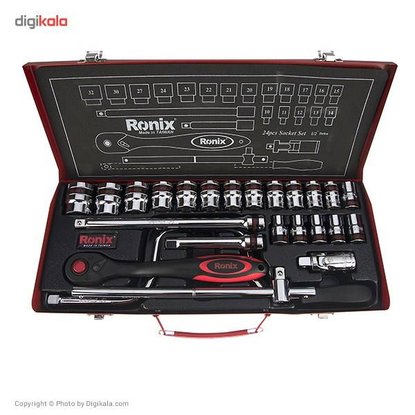 مجموعه 24 عددی آچار بکس رونیکس مدل  RH-2624 با سری های شش گوشه main 1 1