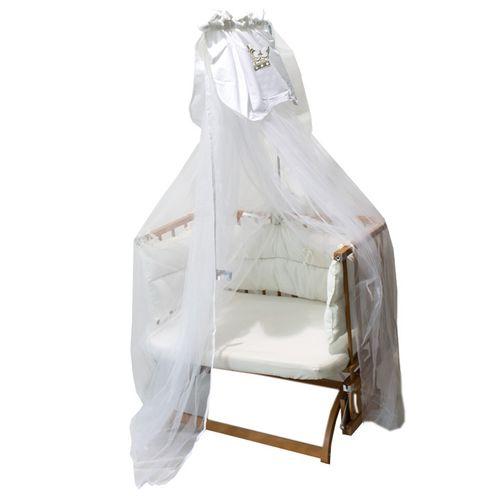 پشه بند تخت به همراه میله کیدبو مدل Royal White