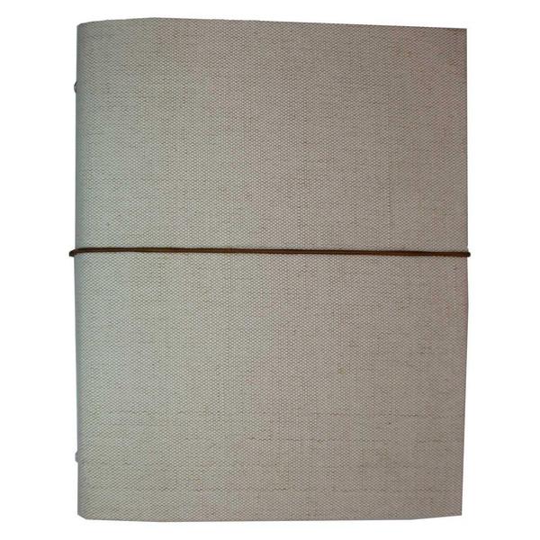 دفتر کلاسوری 100 برگ پارچه ای سفید مدل 03