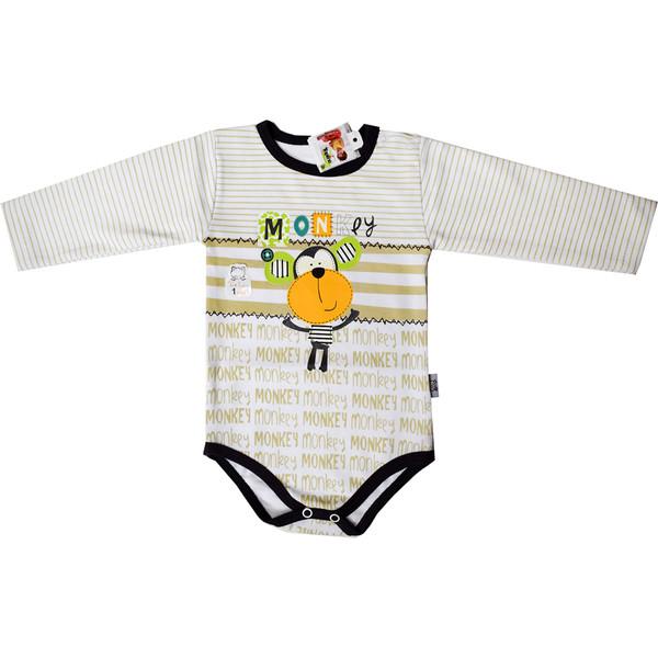 بادی آستین بلند نوزادی تاپ لاین طرح میمون کد 007sm