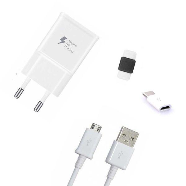 شارژر دیواری مدل EP-TA20EWE همراه با کابل micro usb و مبدل micro به type-c