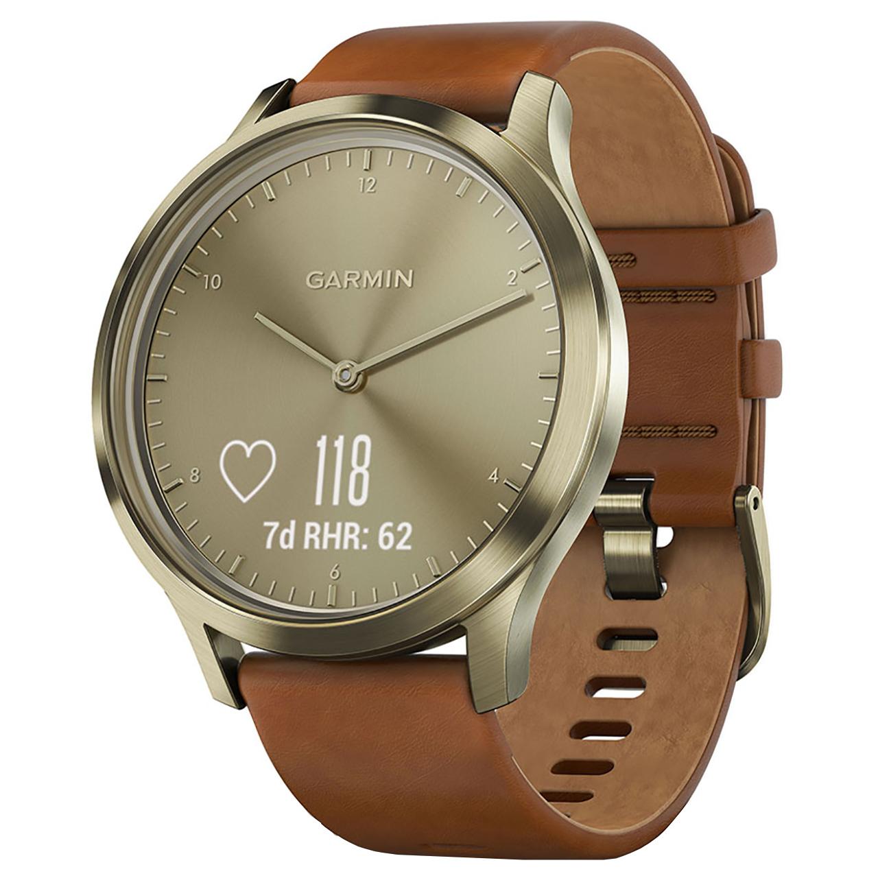 خرید ساعت مچی هوشمند گارمین مدل Vivomove HR Gold Leather Band