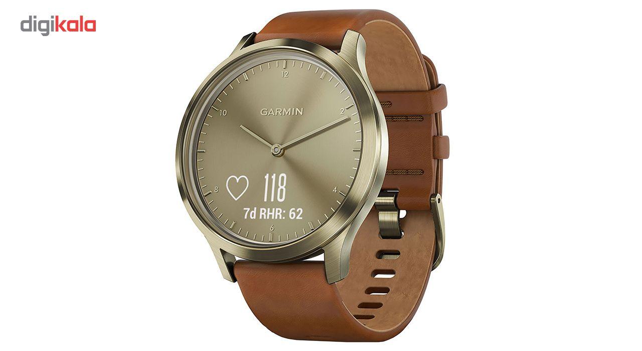 ساعت مچی هوشمند گارمین مدل Vivomove HR Gold Leather Band main 1 1