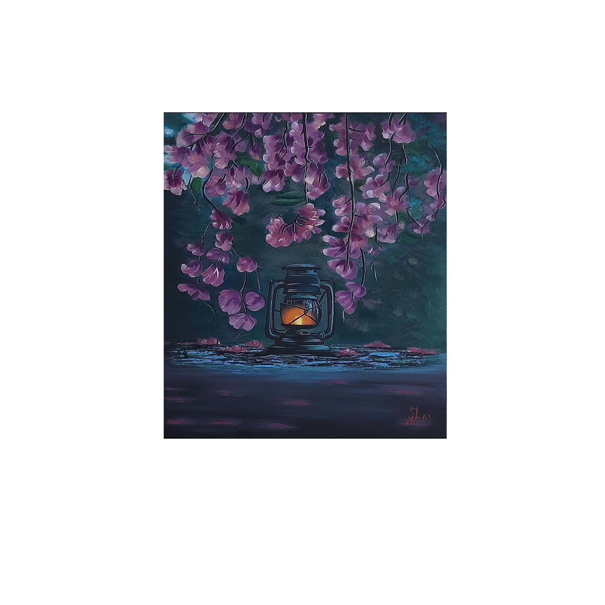 تابلو نقاشی رنگ روغن طرح گل و فانوس کد 3289255