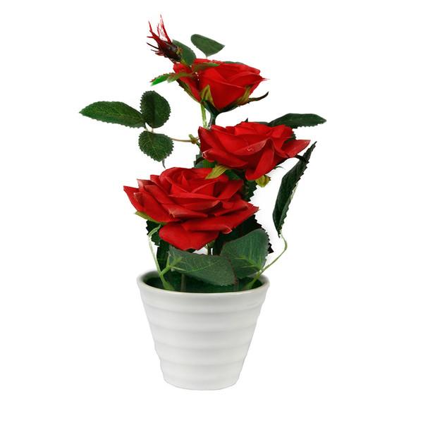 گلدان به همراه گل مصنوعی آتریسا مدل رز کوچک