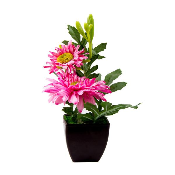 گلدان به همراه گل مصنوعی آتریسا مدل داوودی