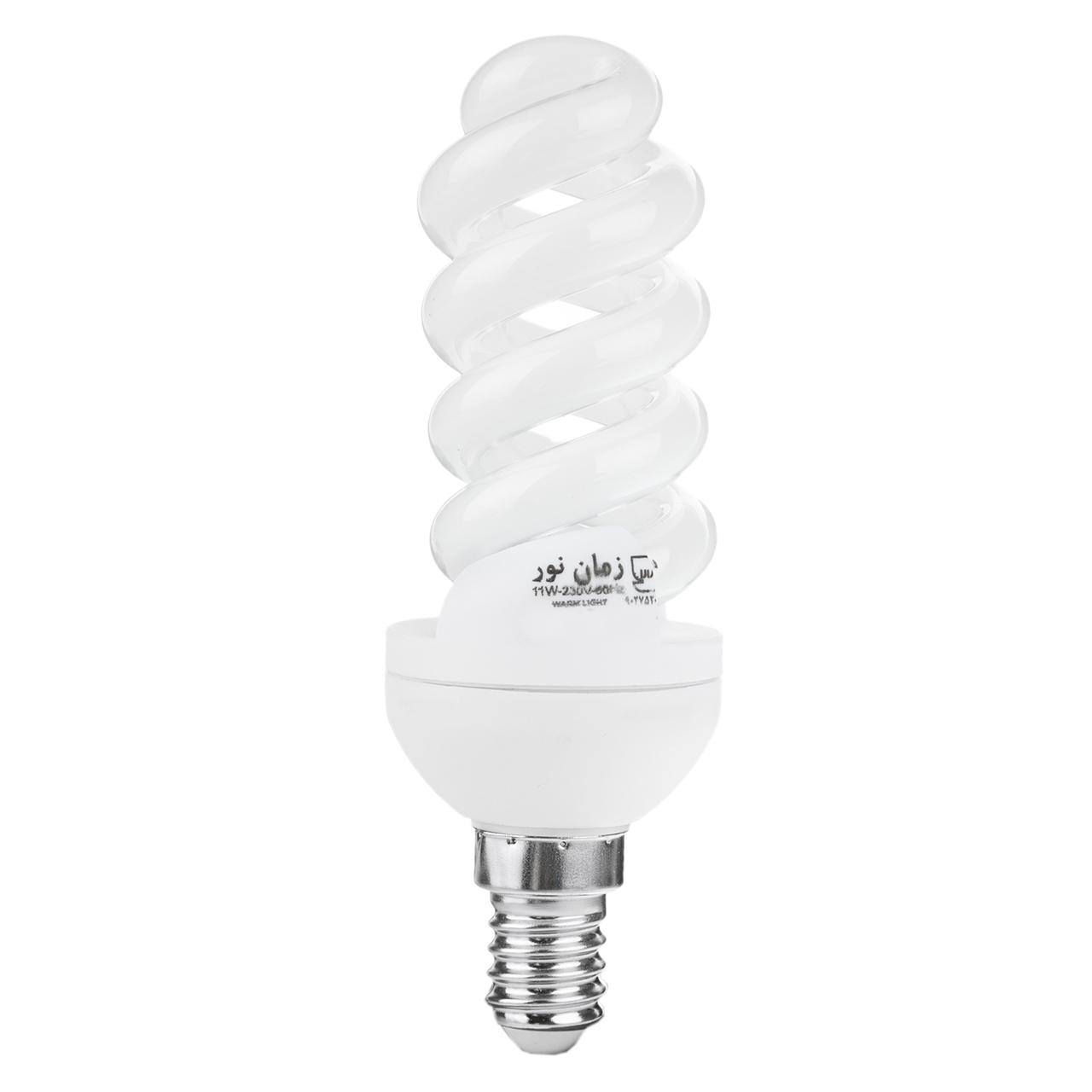 لامپ کم مصرف 11 وات زمان نور مدل Spiral پایه E14