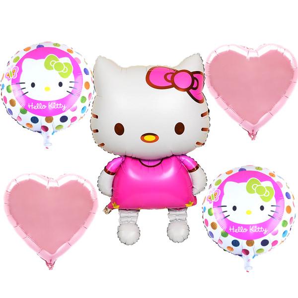 بادکنک فویلی کیتی بانیبو مدل Hello Kitty مجموعه 5 تکه سایز 150