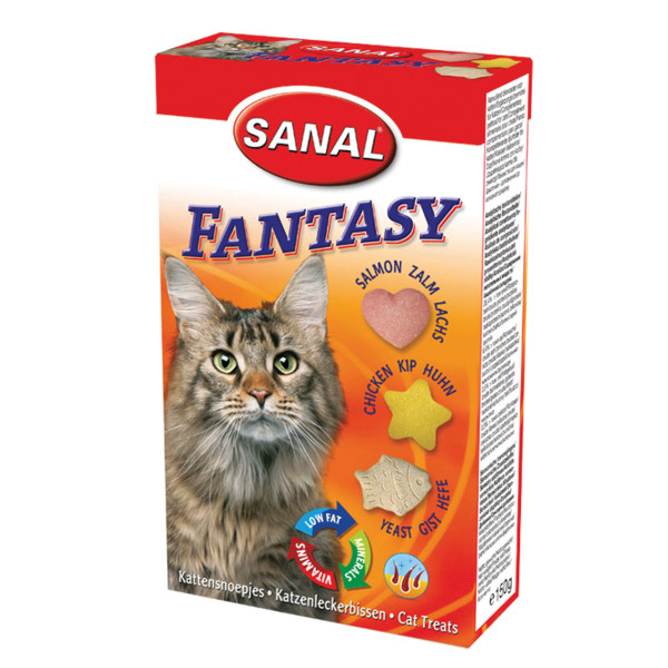 مکمل سانال مخصوص گربه حاوی ویتامین با طعم ماهی سالمون، گوشت مرغ 150 گرمی