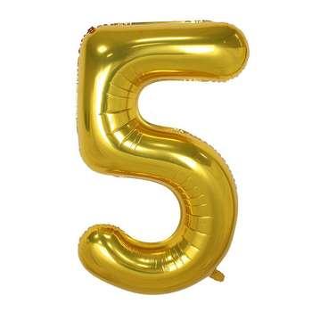 بادکنک فویلی عدد 5 هپی بری طلایی سایز 32 اینچ سایز 120