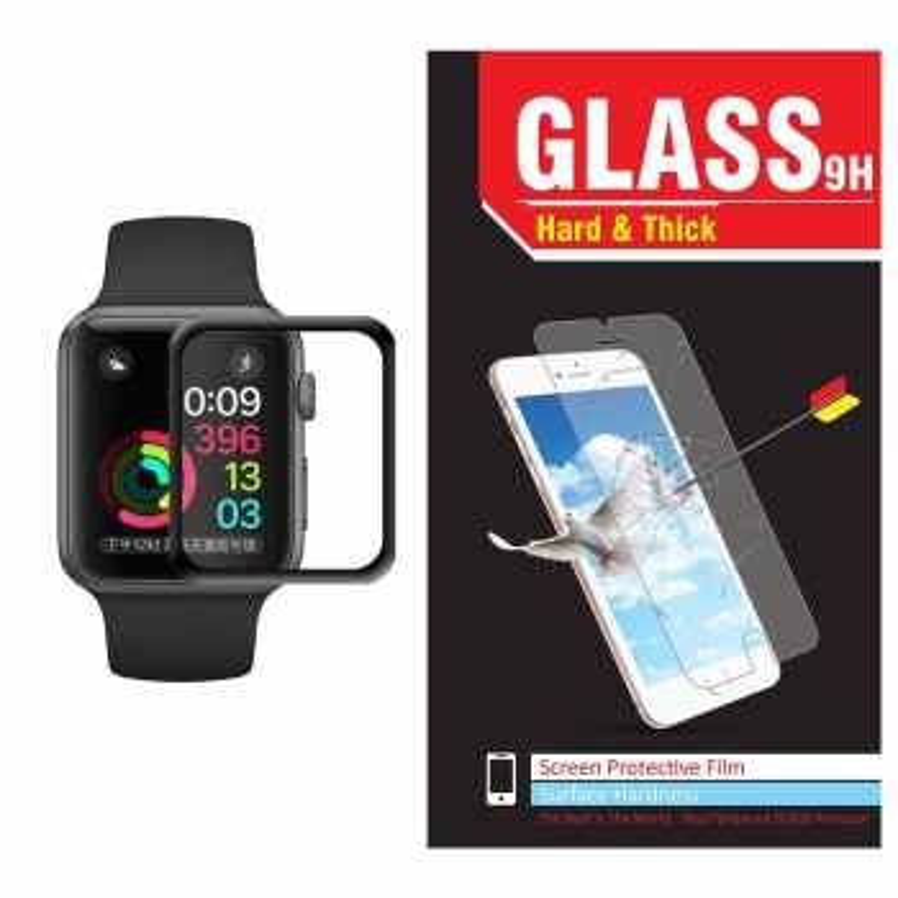 محافظ صفحه نمایش شیشه ای Hard and thick مدل Tempered Glass 3D مناسب اپل واچ سایز 38 میلی متر