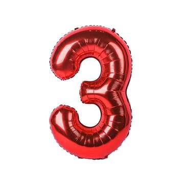 بادکنک فویلی عدد 3 هپی بری قرمز سایز 32 اینچ