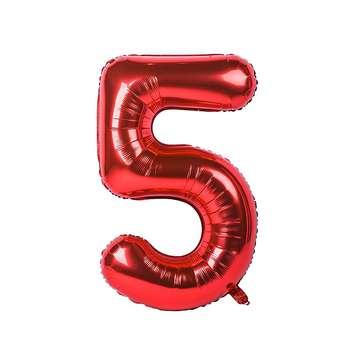 بادکنک فویلی عدد 5 هپی بری قرمز سایز 32 اینچ
