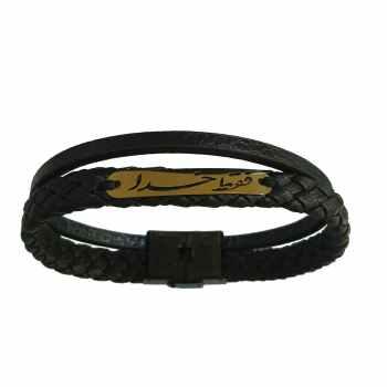 دستبند چرم طلا 18عیار گالری طلای کانیار مدل D742