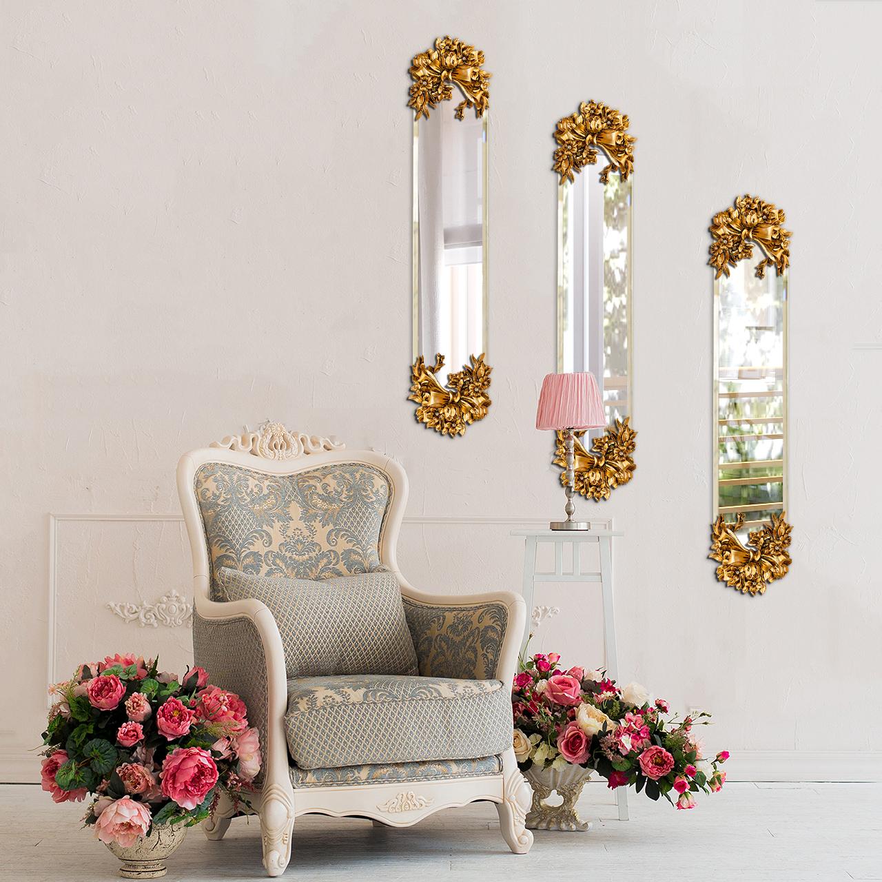 آینه پدیده شاپ طرح پاپیون طلایی مجموعه 3 عددی |