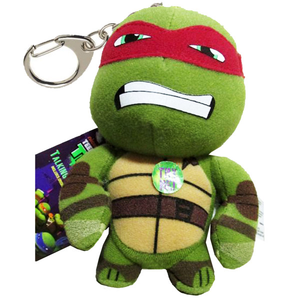 عروسک پولیشی لاکپشت نینجا کلیپ دار سخنگو مدل  Ninja Turtle Raphael Talking Plush Clip-on
