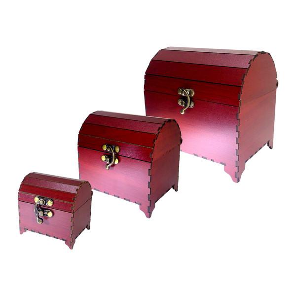 جعبه جواهرات فامسین مدل صندوقچه ای ساده بسته 3 عددی