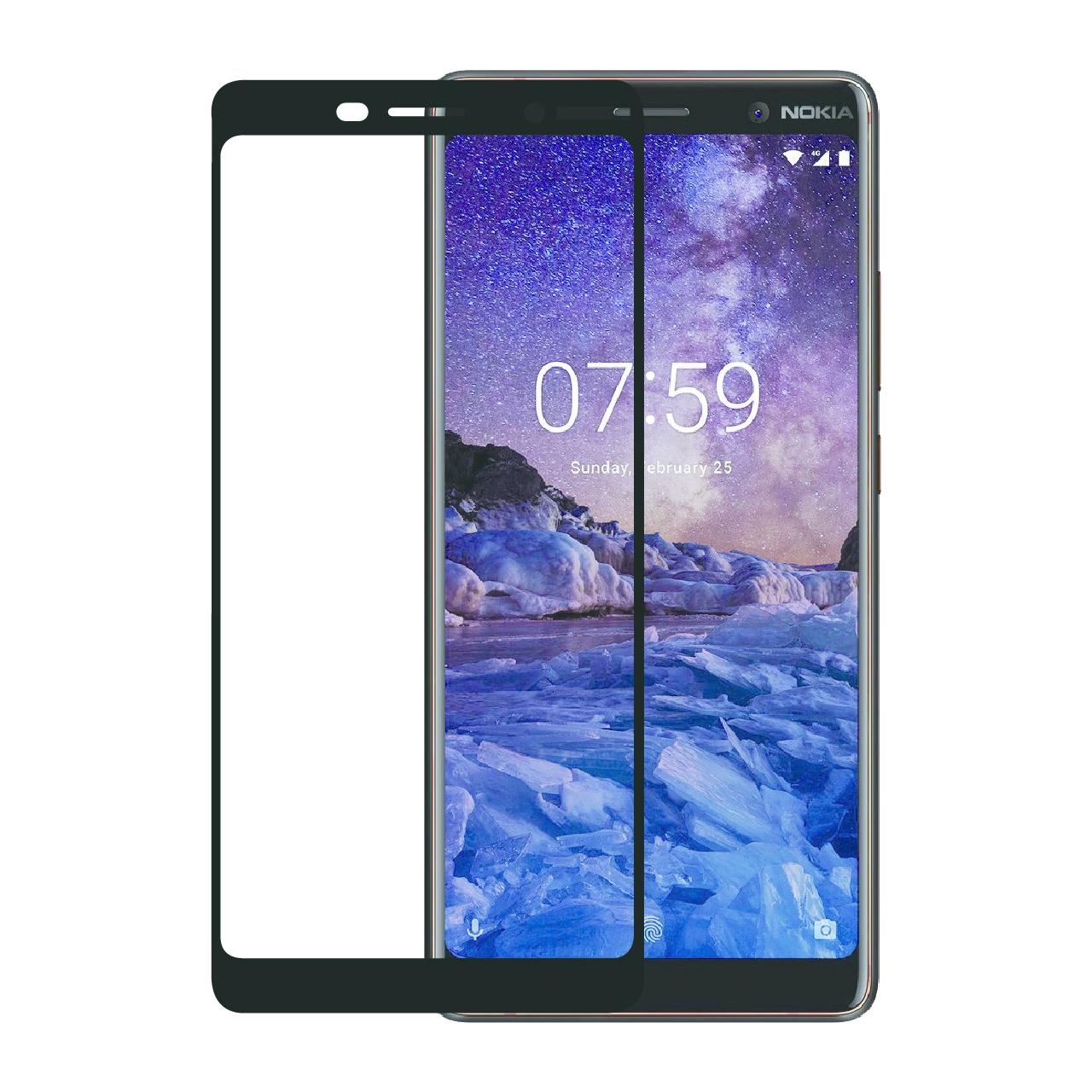 محافظ صفحه نمایش تمپرد مدل Full Cover مناسب برای گوشی موبایل نوکیا 7plus