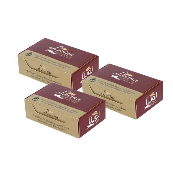 صابون لوینا مدل روغن کوسه مقدار 120 گرم بسته ۳ عددی