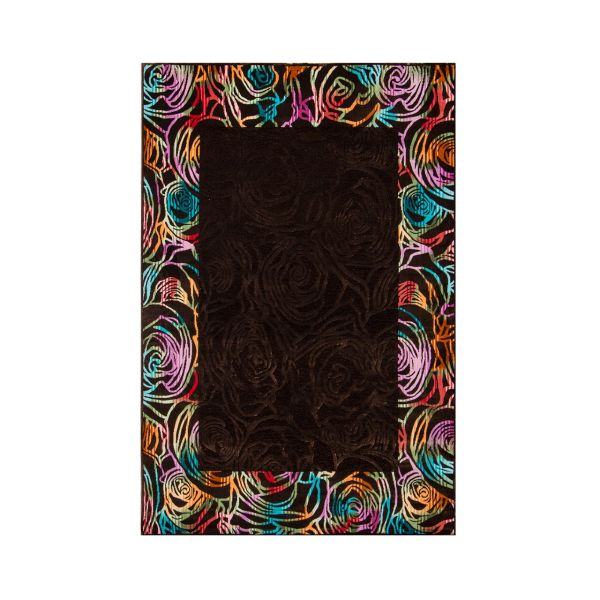فرش ماشینی شاهکار مشهد طرح شنل کد 1705 زمینه قهوه ای