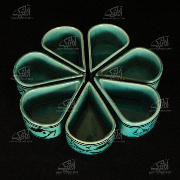 اردور خوری سفالی آرانیک  نقاشی زیر لعابی رنگ آبی مدل 1001600001