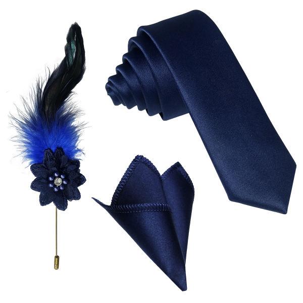 ست کراوات و دستمال جیب و گل کت مردانه هاویرتو کد SF