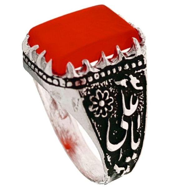 انگشتر نقره مردانه مدل یا علی کد P432
