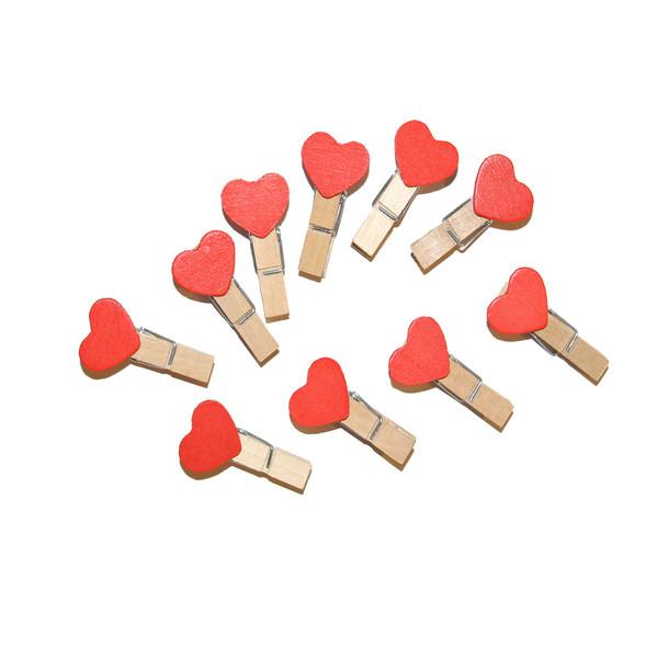 گیره چوبی طرح قلب مدل 02 بسته 10 عددی
