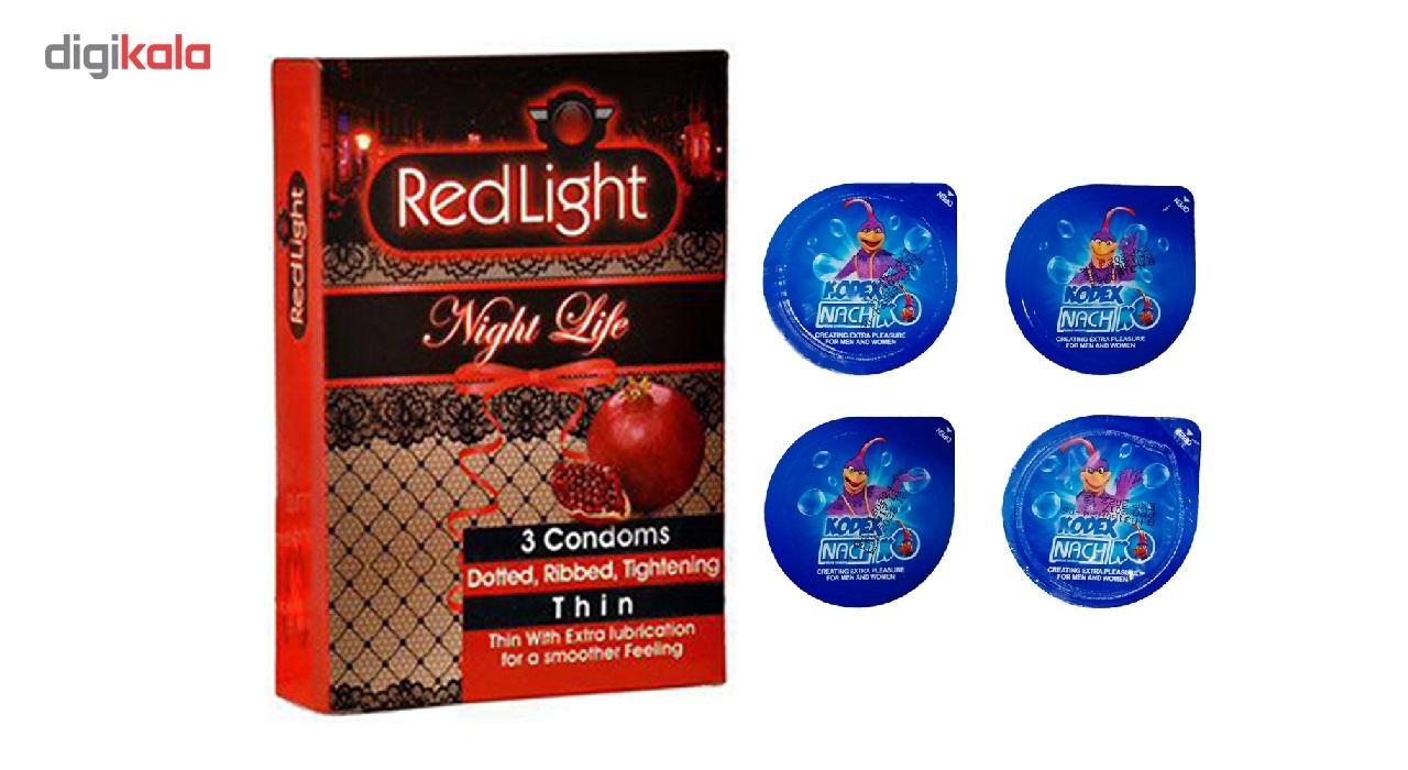 کاندوم تاخیری کدکس مدل بلیسر بسته 4 عددی به همراه یک بسته کاندوم تنگ کننده ردلایت مدل Night Life بسته 3 عددی