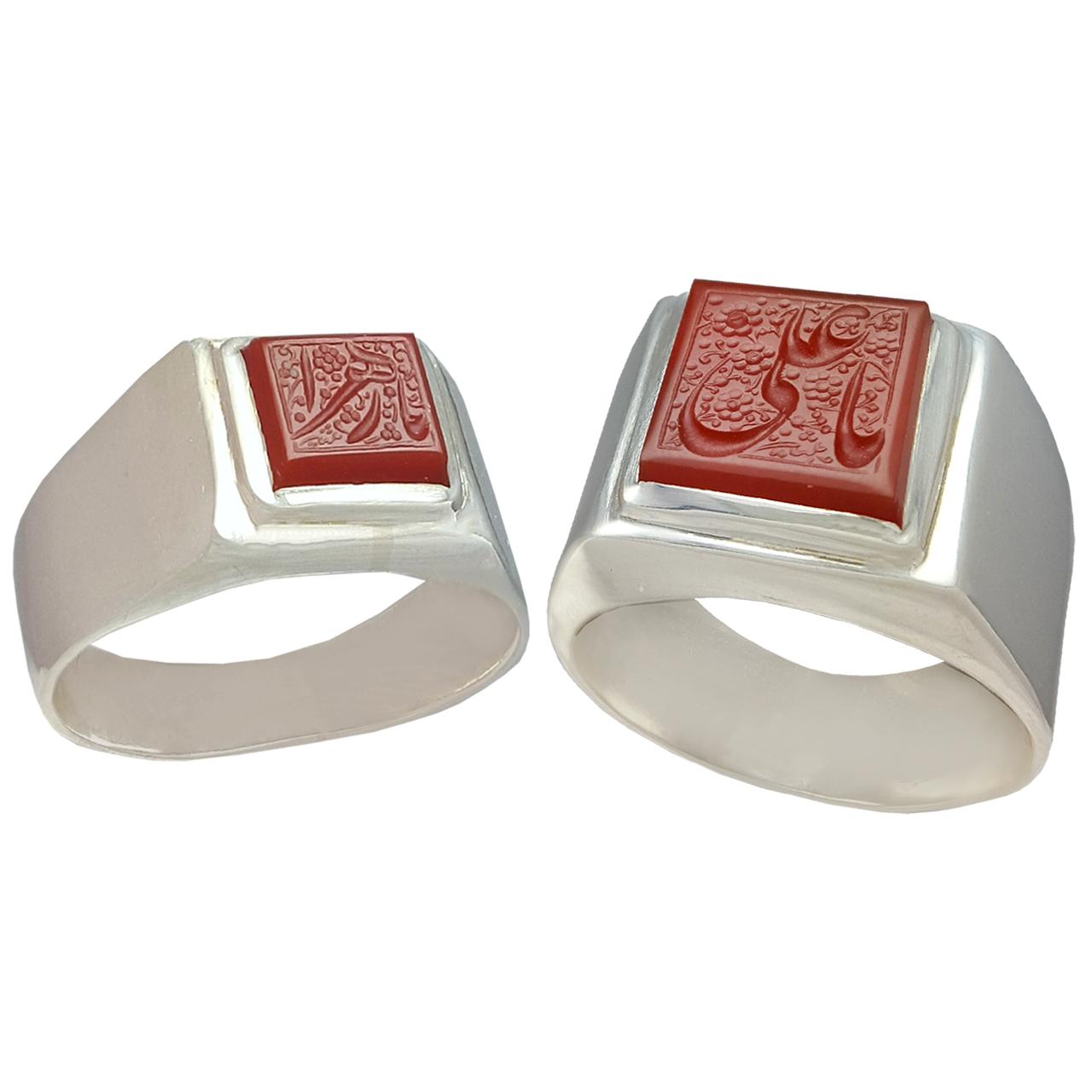 ست انگشتر نقره زنانه و مردانه کد a571jw