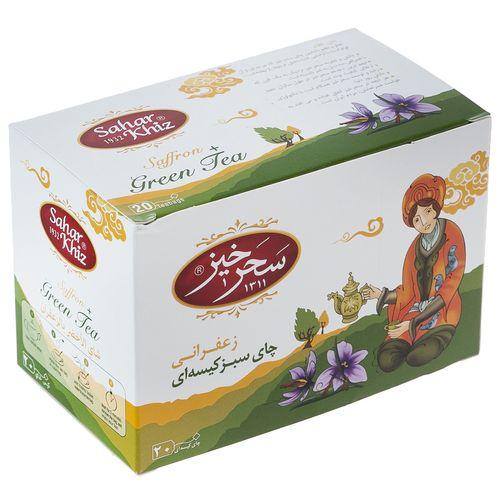 چای سبز کیسهای زعفرانی سحرخیز مقدار 1.5 گرم