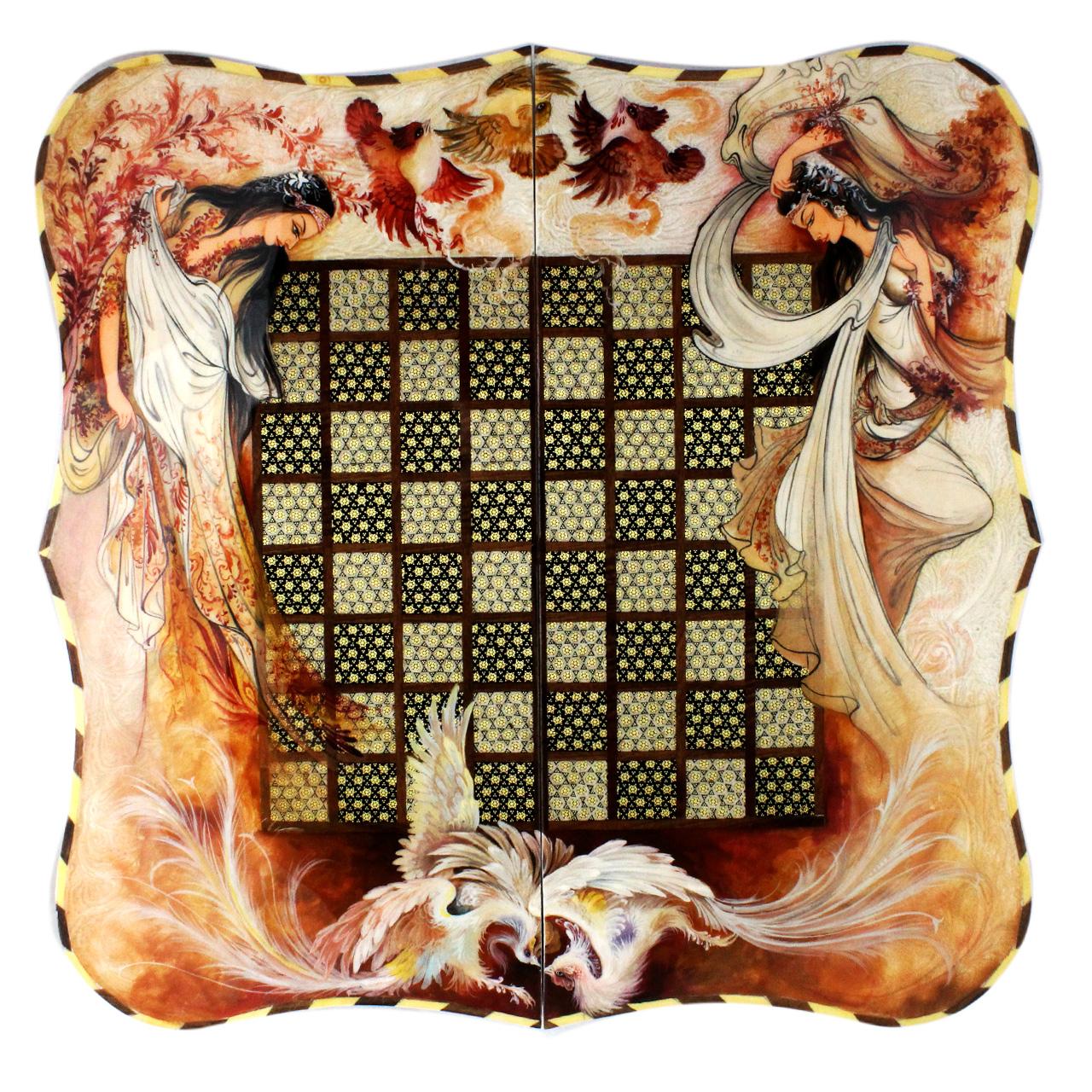صفحه شطرنج خاتم کاری اثر اوستا مدل دالبور طرح مینیاتور اعلا سایز 50 سانتی