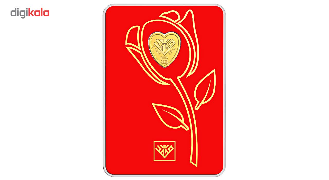 پلاک طلای 24 عیار طلای محمد مدل قلب گل رز